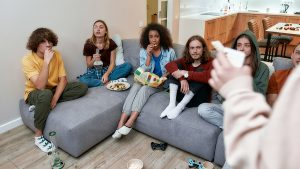Young people using bongs in the living area